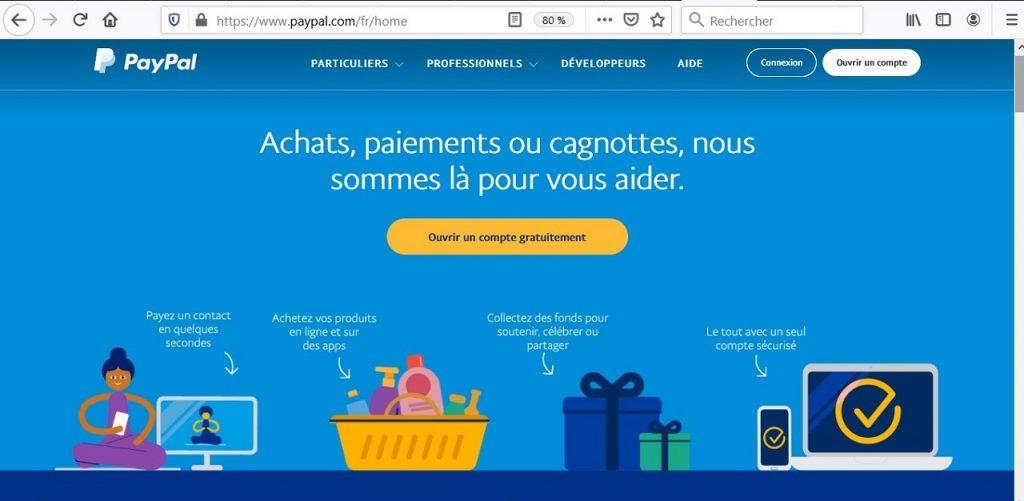 Première page du site officiel de PayPal