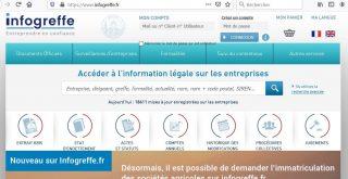 Capture d'écran du site web de Infogreffe